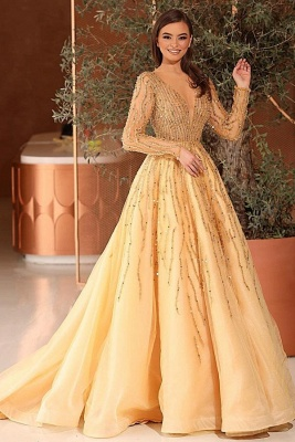 Gorgeous Tulle Daffodil Crystal A-Line Prom Dresses With Long Sleeves_1