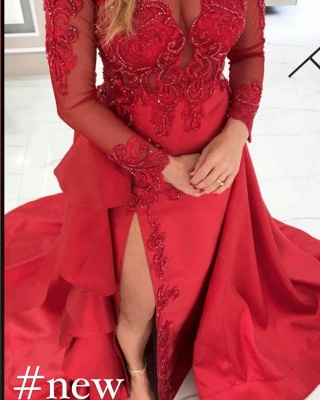 Luxury Front-Split Ruby Ruffles Prom Dresses With Long Sleeves_2