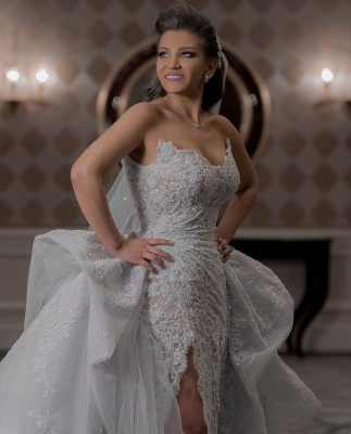 Graceful Sweetheart Sleeveless Lace Split Wedding Dresses A-Line_5
