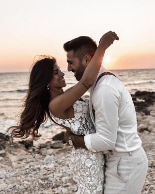 Elegant Spaghetti Straps White Tulle Mermaid Wedding Dresses With Lace_5