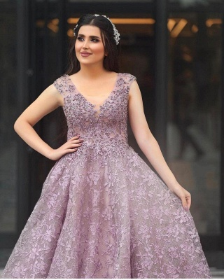 Elegant Sleeveless V Neck Purple Tulle Lace A-Line Prom Dresses_2