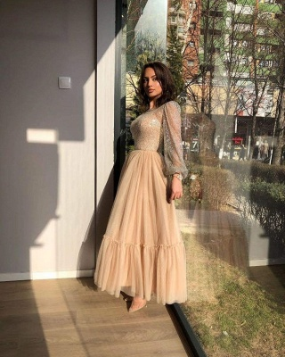 Sweet Tulle Sequins Flesh Color Ankle-Length Wedding Dresses With Long Sleeves_3