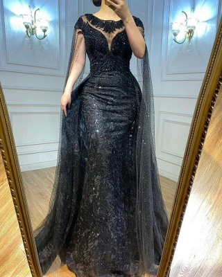 Chic Jewel Black Lace Mermaid Prom Dresses With Sleeveless_2
