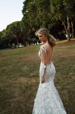 Graceful Backless Square Lace Mermaid Wedding Dresses With Long Sleeves_4