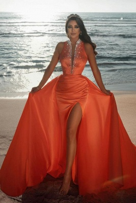Vintage sleeveless Orange Ruffles Front-Split Mermaid Prom Dresses_1