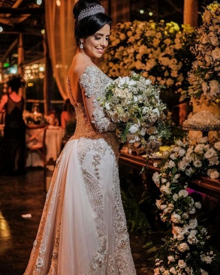 Elegant Jewel White Tulle Lace Appliques A-Line Wedding Dresses With Long Sleeves_2