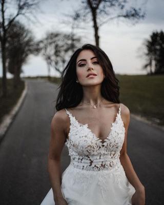Spaghetti Straps Tulle Lace Appliques Wedding Dresses_5