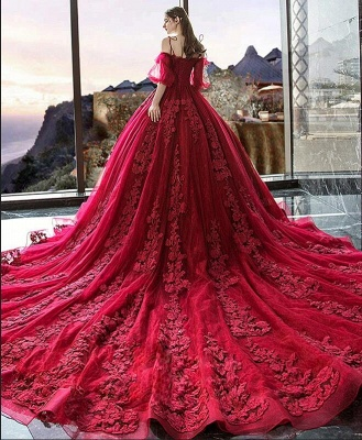 Luxury Off The Shoulder Tulle Ruby Appliques Ball Gown Evening Dresses Long_6