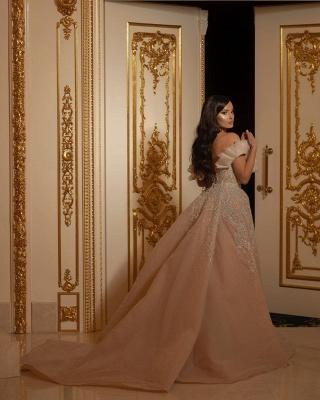 Elegant Off The Shoulder Sweetheart Flesh Color Wedding Dresses With Detachable Skirt_2