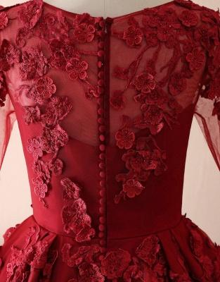 Elegant Tulle Lace Red Jewel Prom Dresses|3D Flowers Ruffles Evening Dresses_3