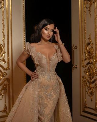 Elegant Off The Shoulder Sweetheart Flesh Color Wedding Dresses With Detachable Skirt_3