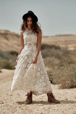 Sleeveless Halter Ivory Lace Ankle-Length A-Line Wedding Dresses