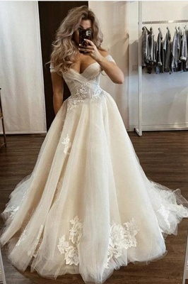 Glamorous Off The Shoulder Sweetheart Tulle Lace Appliques Wedding Dresses
