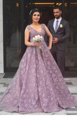 Elegant Sleeveless V Neck Purple Tulle Lace A-Line Prom Dresses