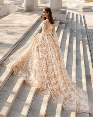 Graceful Long Sleeves V Neck Nude Pink Wedding Dresses With Flowers_2
