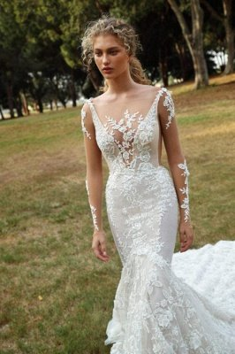 Graceful Backless Square Lace Mermaid Wedding Dresses With Long Sleeves