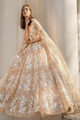 Graceful Long Sleeves V Neck Nude Pink Wedding Dresses With Flowers_1