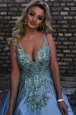 Luxury Sleeveless V Neck Satin Lake Blue Appliques Prom Dresses