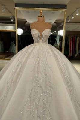 Strapless Tulle Crystal Sequins Ball Gown Wedding Dresses
