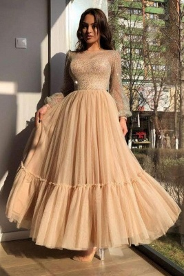 Sweet Tulle Sequins Flesh Color Ankle-Length Wedding Dresses With Long Sleeves