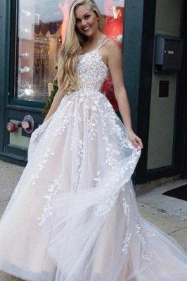 Elegant Spaghetti Straps Tulle Appliques A-Line Prom Dresses