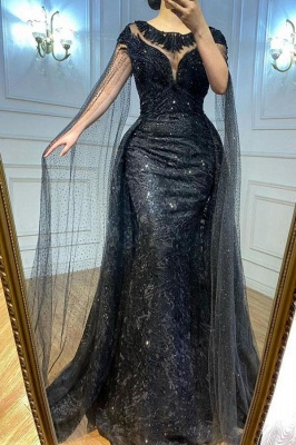 Chic Jewel Black Lace Mermaid Prom Dresses With Sleeveless