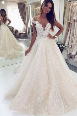 Graceful Off The Shoulder White Tulle Lace A-Line Wedding Dresses