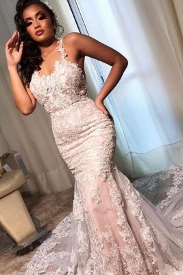 Elegant Spaghetti Straps White Appliques Mermaid Wedding Dresses