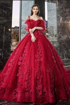 Luxury Off The Shoulder Tulle Ruby Appliques Ball Gown Evening Dresses Long