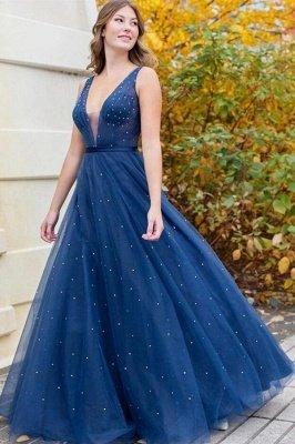 Glamourous Sleeveless Tulle Dark Blue Beading Prom Dresses|V Neck Evening Dresses