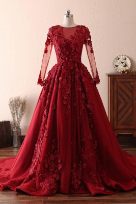 Elegant Tulle Lace Red Jewel Prom Dresses|3D Flowers Ruffles Evening Dresses