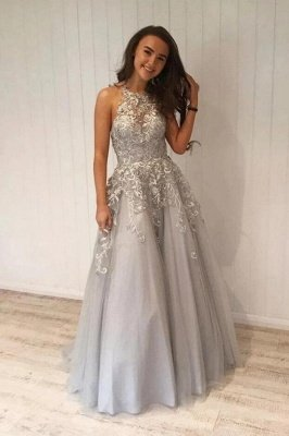 Luxury Halter Tulle Lace Light Grey Prom Dresses Floor-Length