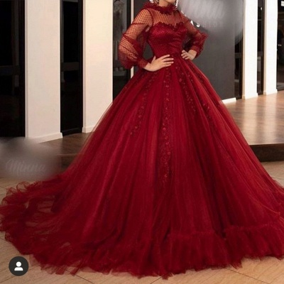 Vintage Tulle Jewel Long Sleeves Lace Appliques Ball Gown Evening Dresses_2