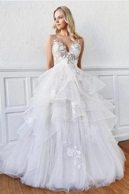 Sleeveless White Tulle Ruffles A-Line Wedding Dresses With Lace Appliques