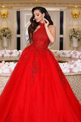 Luxury Halter Tulle Ruby Lace A-line Prom Dresses With Sleeveless