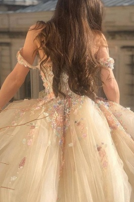 Princess Sweetheart Off The Shoulder Tulle Ball Gown Wedding Dresses With Flowers_4