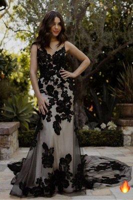 Modern Spaghetti Straps Sweetheart Black Lace Mermaid Prom Dresses_1
