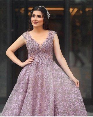 Elegant Sleeveless V Neck Purple Tulle Lace A-Line Prom Dresses_2