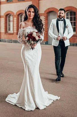 Elegant White Off The Shoulder Lace Satin Mermaid Wedding Dresses With Long Sleeves