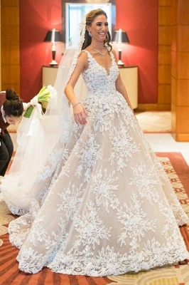 Glamorous Sleeveless V Neck A-Line Wedding Dresses With Lace Appliques