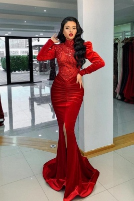 Luxury Long Sleeves High Neck Ruby Ruffles Mermaid Prom Dresses