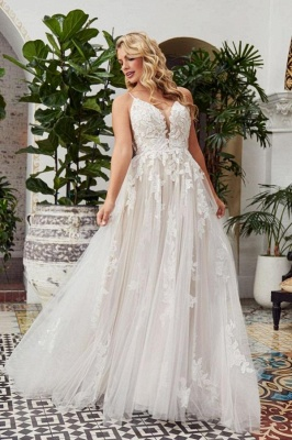 Glamorous Spaghetti Straps Backless Lace Wedding Dresses Floor-length_1
