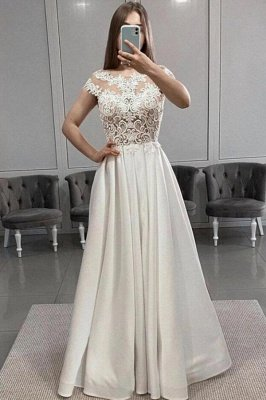 Graceful Jewel Ivory Lace Sheath Prom Dresses With Sleeveless