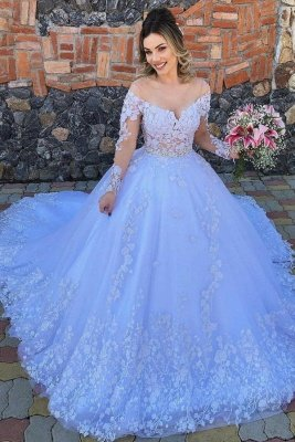 Gorgeous Off The Shoulder Tulle Light Blue Lace Appliques Wedding Dresses With Long Sleeves