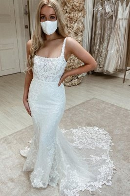Women Sleeveless Square White Tulle Mermaid Wedding Dresses With  Appliques_1