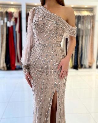 One Shoulder Tulle Crystal Split Mermaid Prom Dresses Long_2