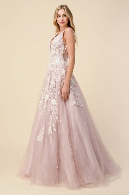 Tulle V Neck Long A-Line Prom Dresses With Lace Appliques_3