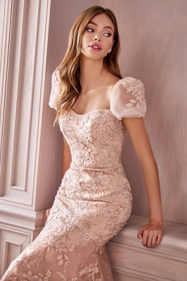 Glamourous Short Sleeves Tulle Nude Pink Appliques Mermaid Prom Dresses_3
