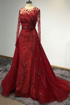 Luxury Long Sleeves Tulle Ruby Lace Appliques Mermaid Prom Dresses_4