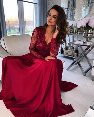 Long Sleeves Ruby V Neck Lace Appliques Split Prom Dresses_2